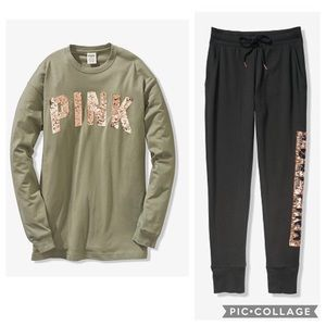 PINK Campus Bling Tee/joggers large
